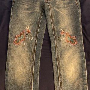Girls Cat and Jack skinny jeans unicorn size 5